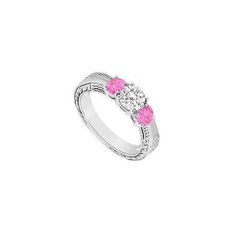 Three Stone Pink Sapphire and Diamond Ring : 14K White Gold - 0.33 CT TGW