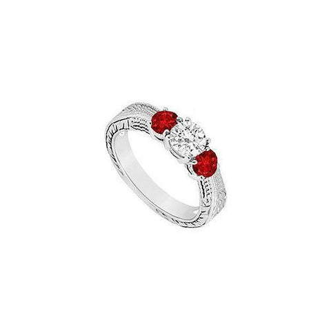 Three Stone Ruby and Diamond Ring : 14K White Gold - 0.33 CT TGW