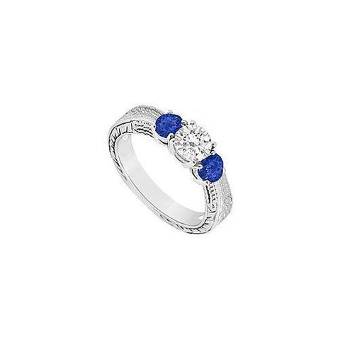 Three Stone Sapphire and Diamond Ring : 14K White Gold - 0.33 CT TGW