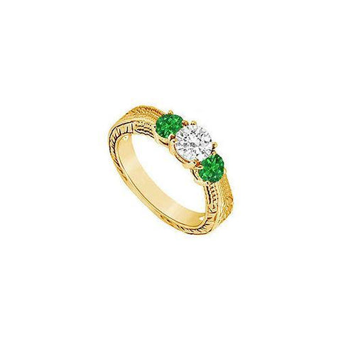 Three Stone Emerald and Diamond Ring : 14K Yellow Gold - 0.33 CT TGW