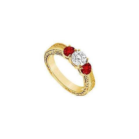 Three Stone Ruby and Diamond Ring : 14K Yellow Gold - 0.33 CT TGW