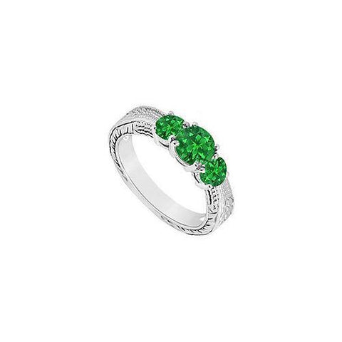 Emerald Three Stone Ring : 14K White Gold - 0.50 CT TGW