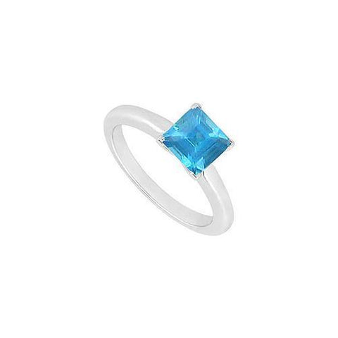 Blue Topaz Ring : 14K White Gold - 0.75 CT TGW