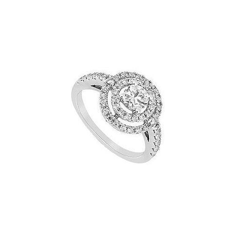 Cubic Zirconia Ring 10K White Gold 1.25 CT TGW