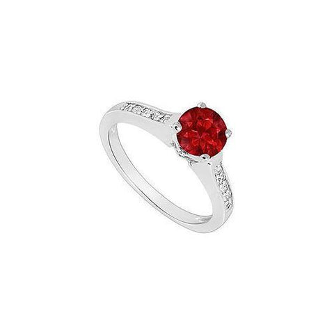 14K White Gold : Ruby and Diamond Engagement Ring 0.60 CT TGW