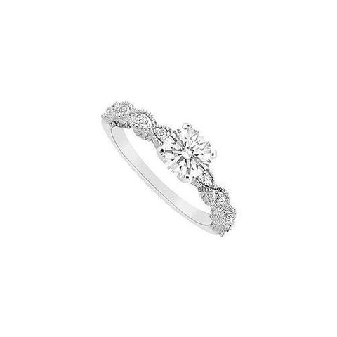 Cubic Zirconia Engagement Ring 10K White Gold 0.60 CT TGW