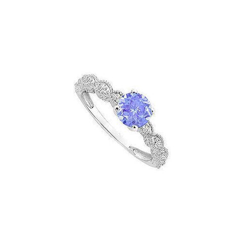 Tanzanite and Diamond Engagement Ring : 14K White Gold - 0.40 CT TGW