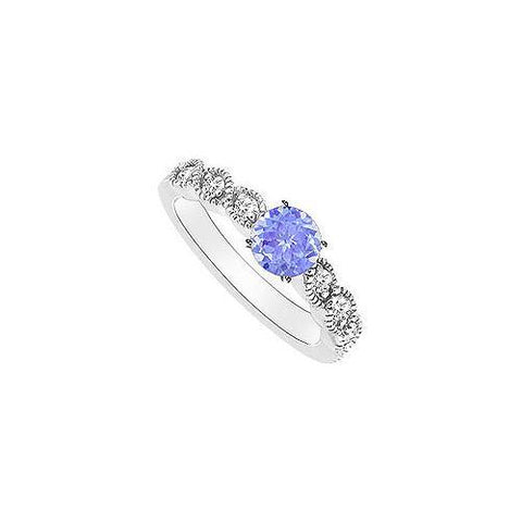 Tanzanite and Diamond Engagement Ring : 14K White Gold - 0.35 CT TGW