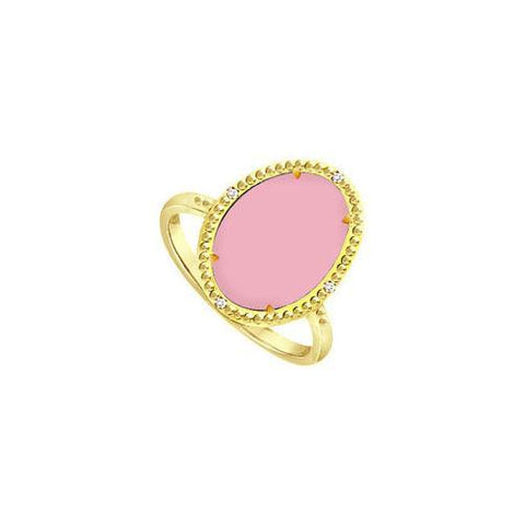 .925 Sterling Silver Overlay 18K Yellow Gold Ring with Pink Chalcedony and Cubic Zirconia 15.08