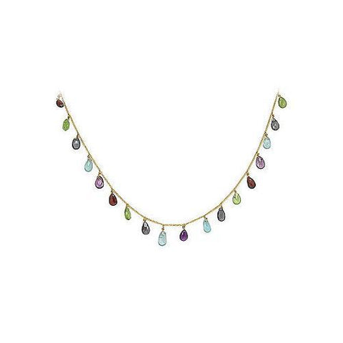 Multicolor Gemstone Necklace : 14K Yellow Gold - 25.00 CT TGW