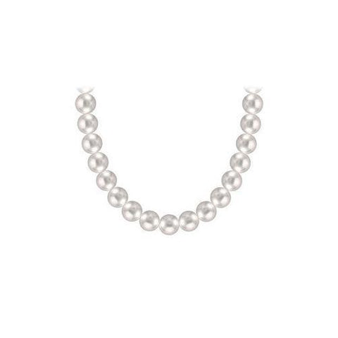Akoya Cultured Silver Pearl Necklace 14K White Gold 6 mm