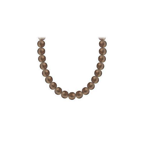 Akoya Cultured Chocolate Pearl Necklace 14K White Gold 4 mm