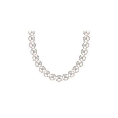 Freshwater Cultured Silver Pearl Necklace 14K White Gold 5 mm