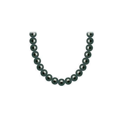 Freshwater Cultured Black Pearl Necklace 14K White Gold 5 mm