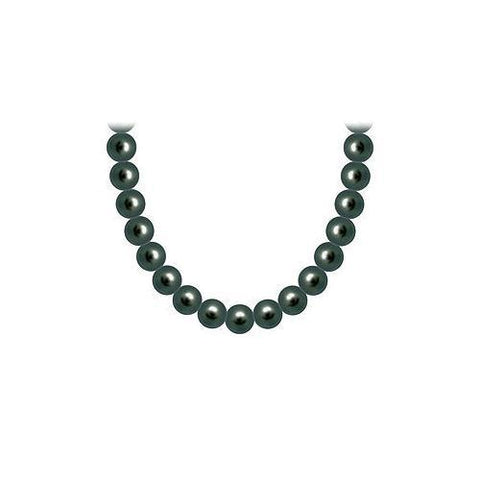 Freshwater Cultured Black Pearl Necklace 14K White Gold 6 mm