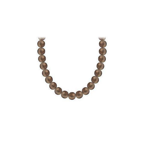 Freshwater Cultured Chocolate Pearl Necklace 14K White Gold 4 mm