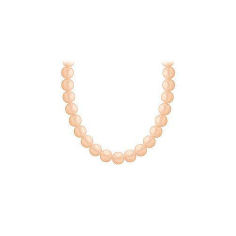 Freshwater Cultured Peach Pearl Necklace 14K White Gold 4 mm