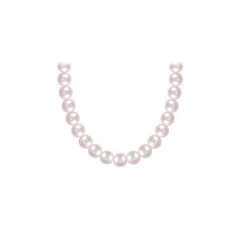 Freshwater Cultured Pink Pearl Necklace 14K White Gold 5 mm