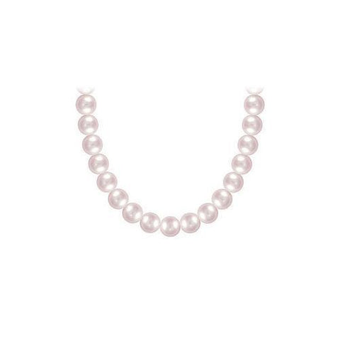 Freshwater Cultured Pink Pearl Necklace14K White Gold 6 mm