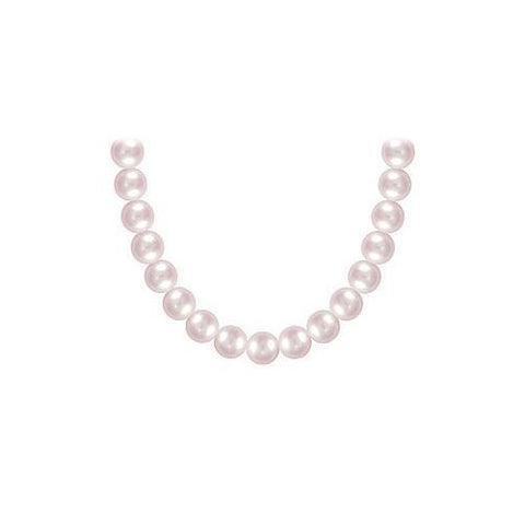 Freshwater Cultured Pink Pearl Necklace 14K White Gold 7 mm