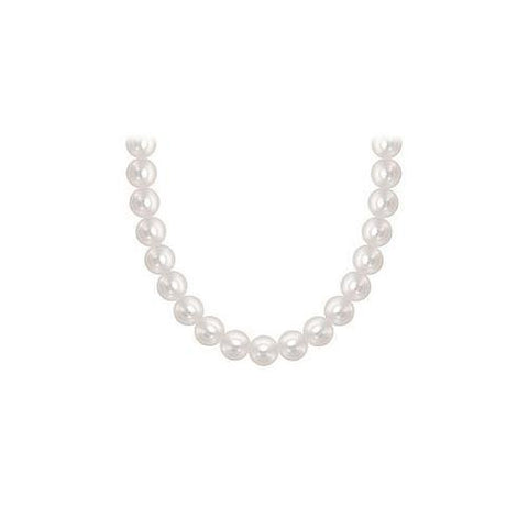 Freshwater Cultured Pearl Necklace : 14K White Gold – 5 MM