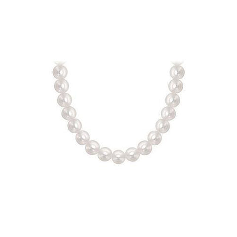 Freshwater Cultured Pearl Necklace : 14K White Gold – 6 MM