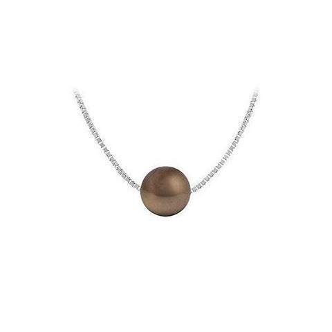 Cultured Chocolate Akoya Pearl Pendant : 14K white gold - 9 MM