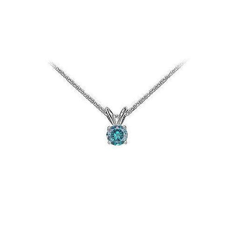 Blue Diamond Solitaire Pendant : 14K White Gold - 0.50 CT Diamonds
