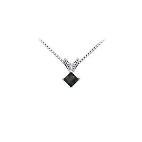 14K White Gold Prong Set Square Onyx Solitaire Pendant 1.00 CT TGW.