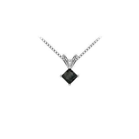 14K White Gold Prong Set Square Onyx Solitaire Pendant 2.00 CT TGW.