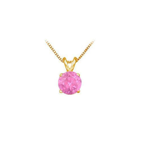 14K Yellow Gold Prong Set Natural Pink Sapphire Solitaire Pendant 0.50 CT TGW