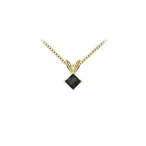 14K Yellow Gold : Princess Cut Black Diamond Solitaire Pendant - 1.00 CT. TW.