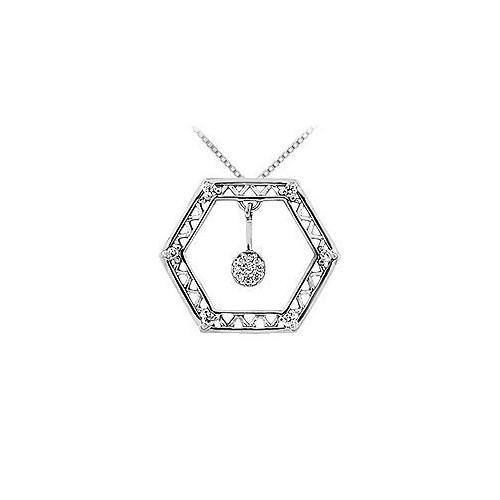 Diamond Geometric Design Pendant : 14K White Gold - 0.15 CT Diamonds