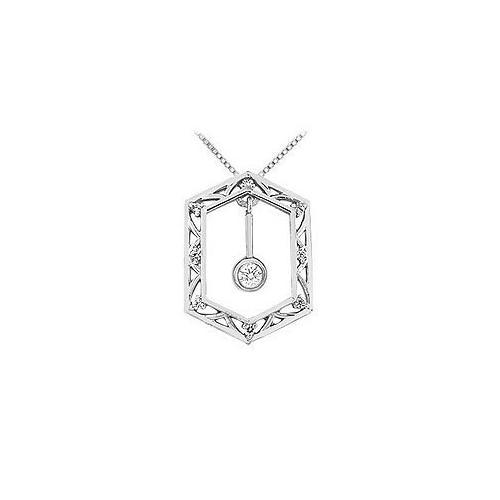 Diamond Frame Design Pendant : 14K White Gold - 0.15 CT Diamonds