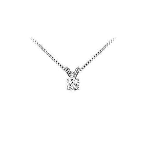 18K White Gold : Prong Set Round Diamond Solitaire Pendant – 0.25 CT. TDW.