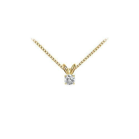 18K Yellow Gold : Prong Set Round Diamond Solitaire Pendant – 0.15 CT. TDW.