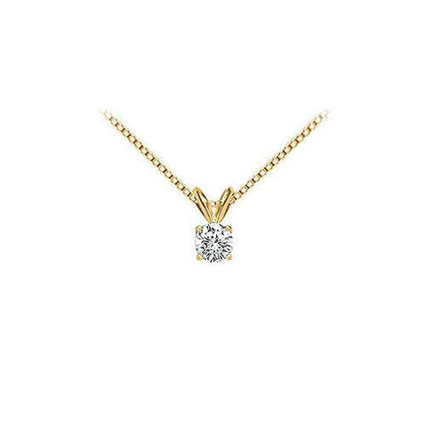 18K Yellow Gold : Prong Set Round Diamond Solitaire Pendant – 0.25 CT. TDW.