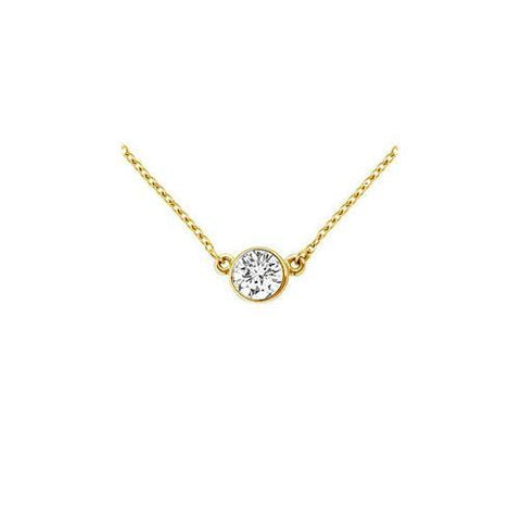 18K Yellow Gold : Bezel Set Round Diamond Solitaire Pendant - 0.25 CT. TDW.