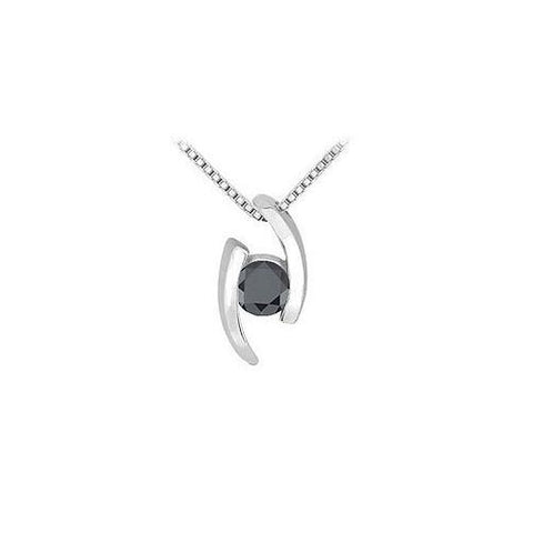 Black Diamond Pendant : 14K White Gold - 0.25 CT Diamonds
