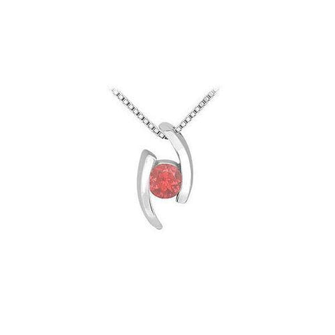 Ruby Pendant : 14K White Gold - 0.25 CT TGW