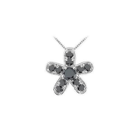 Black Diamond Flower Pendant : 14K White Gold - 0.55 CT Diamonds