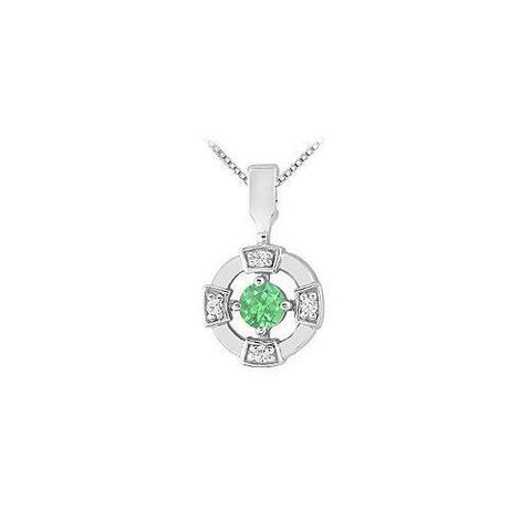 Emerald and Diamond Pendant : 14K White Gold - 0.25 CT TGW
