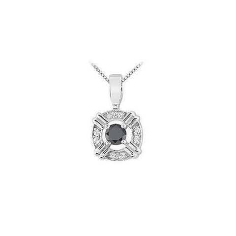 Black and White Diamond Pendant : 14K White Gold - 0.25 CT Diamonds