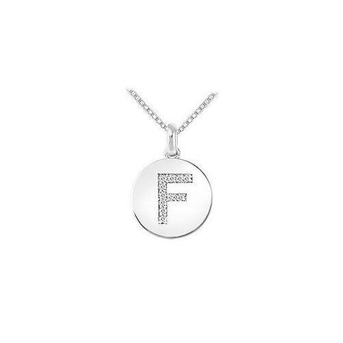 Diamond Disc Initial F Pendant : 14K White Gold - 0.10 CT Diamonds