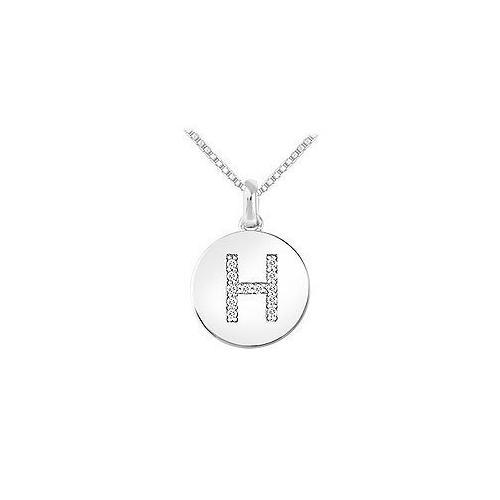Diamond Disc Initial H Pendant : 14K White Gold - 0.15 CT Diamonds