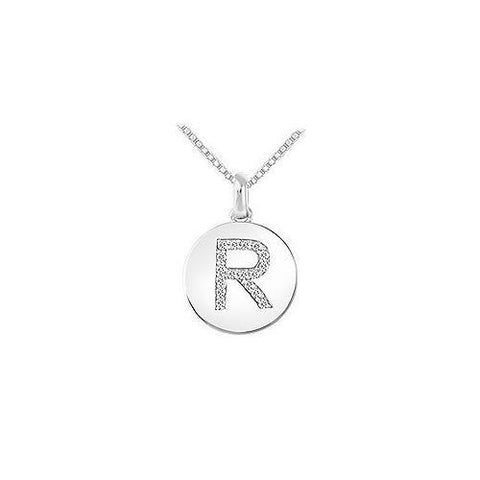 Diamond Disc Initial R Pendant : 14K White Gold - 0.20 CT Diamonds