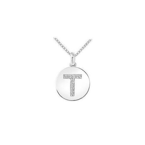 Diamond Disc Initial T Pendant : 14K White Gold - 0.10 CT Diamonds