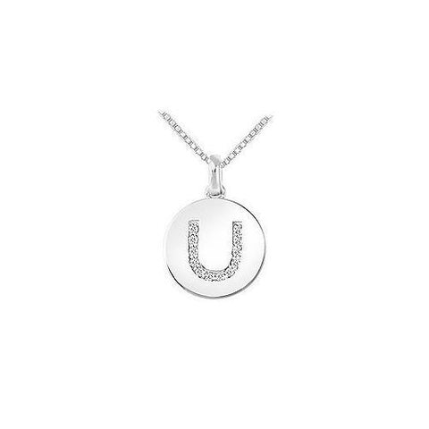 Diamond Disc Initial U Pendant : 14K White Gold - 0.15 CT Diamonds