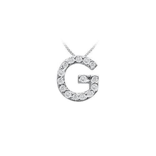 CZ Initial Sterling Silver G Pendant