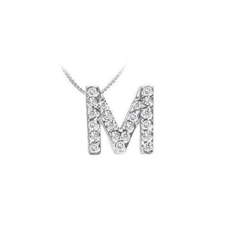 CZ Initial Sterling Silver M Pendant